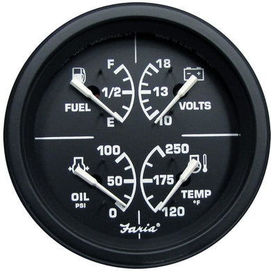 Faria 4 Heavy-Duty Multi-Function Gauge (Fuel Oil (PSI) Water Temp Voltmeter) - Black *Bulk Case of 12* [GF0036B] - Gauges Boat Outfitting |