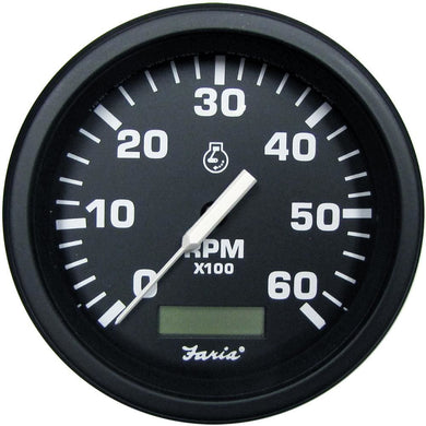 Faria 4 Heavy-Duty Tachometer w-Hourmeter (6000 RPM) Gas - Black *Bulk Case of 12* [TC9133B] - Gauges Boat Outfitting | Gauges Brand_Faria