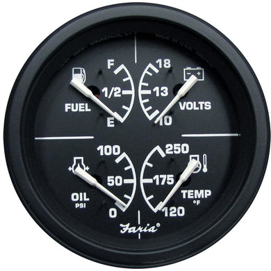 Faria Heavy-Duty 4 Multifunction [Fuel Level | Oil PSI (100 PSI) | Water Temp (120-250 F) | Voltmeter (10-16 VDC)] - Black [43006] - Gauges
