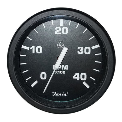 Faria Heavy-Duty Black 4 Tachometer (4000 RPM) (Mag Pick-Up) (Diesel) [43002] - Gauges Boat Outfitting | Gauges Brand_Faria Beede