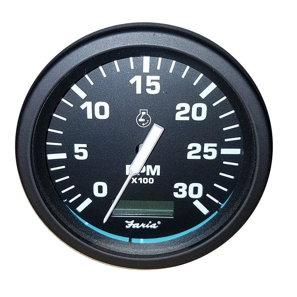 Faria Heavy-Duty Black 4 Tachometer w-Hourmeter (3000 RPM) (Diesel) (Mag Pick-Up) [TD9205] - Gauges Boat Outfitting | Gauges Brand_Faria