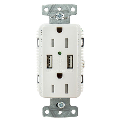 Hubbell Usb15a5w White Outlet Dual 15 Amp 125v 2-pole And Dual 5 Amp 5v Usb Ports - Electrical Shorepower - 15 Amp Hubbell Wiring