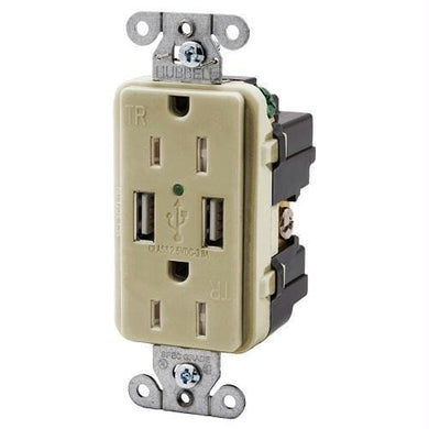 Hubbell USB15X2W 15AMP Outlet Dual USB Charging Ports Ivory - Electrical hubbell-wiring Shorepower - 15 Amp under-50 Hubbell Wiring