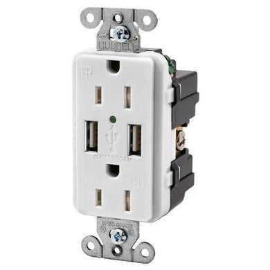Hubbell USB15X2W 15AMP Outlet Dual USB Charging Ports White - Electrical hubbell-wiring Shorepower - 15 Amp under-50 Hubbell Wiring