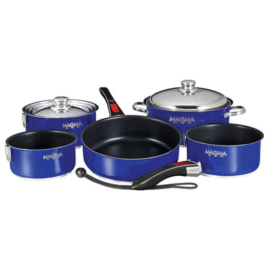 Magma Nesting 10-Piece Induction Compatible Cookware - Cobalt Blue Exterior & Slate Black Ceramica Non-Stick Interior [A10-366-CB-2-IND] -