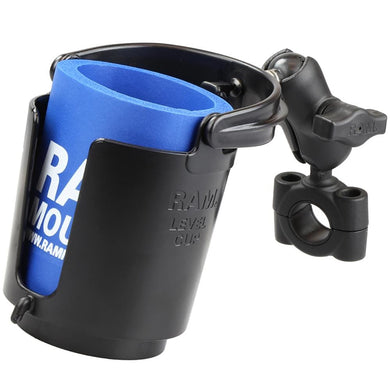 RAM Mount RAM Torque 3-4 - 1 Diameter Handlebar-Rail Base with 1 Ball SHORT Arm and Level Cup [RAM-B-408-75-1-A-132U] - Drink Cup Mounts