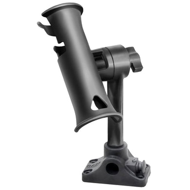 RAM Mount RAM Tube Jr. Fishing Rod Holder Standard 6 Length Post Spline & Combo Bulkhead-Flat Surface Base w-Plunger [RAP-390-BMPU] -