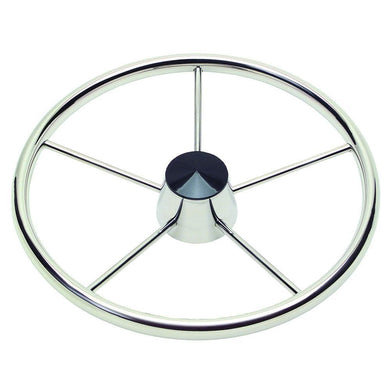 Schmitt 170 13.5 Stainless 5-Spoke Destroyer Wheel w- Black Cap and Standard Rim - Fits 3-4 Tapered Shaft Helm [1721321] - Steering Wheels