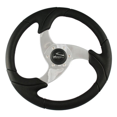Schmitt Folletto 14.2 Black Poly Steering Wheel w- Polished Spokes and Black Cap - Fits 3-4 Tapered Shaft Helm [PU026101] - Steering Wheels
