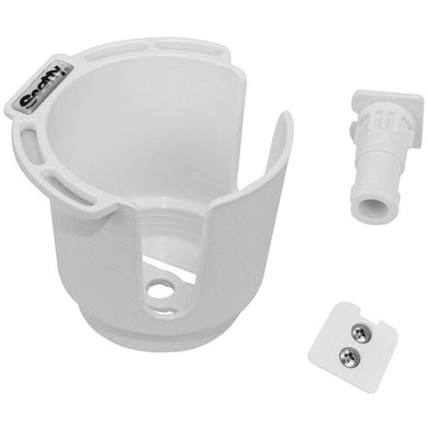 Scotty 311 Drink Holder w-Bulkhead-Gunnel Mount & Rod Holder Post Mount - White [311-WH] - Deck / Galley Boat Outfitting | Deck / Galley