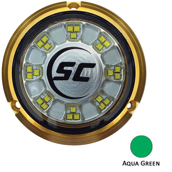 Shadow-Caster SCR-24 Bronze Underwater Light - 24 LEDs - Aqua Green [SCR-24-AG-BZ-10] - Underwater Lighting Brand_Shadow-Caster LED Lighting