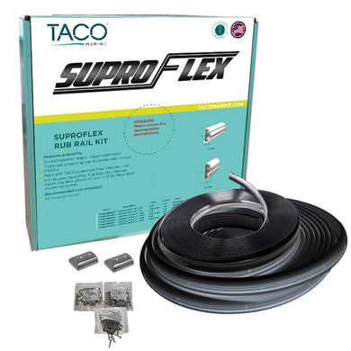 TACO SuproFlex Rub Rail Kit - Black w-Flex Chrome Insert - 2H x 1.2W x 80L - Marine Hardware Rub Rail TACO Marine 631006090025