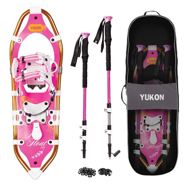 YUKON Womens Pro Float Series Snowshoe Kit 8 x 25 - Pink - 200lbs Weight Capacity w-Snowshoes Poles Travel Bag [80-2012K] - SnowShoes/Poles