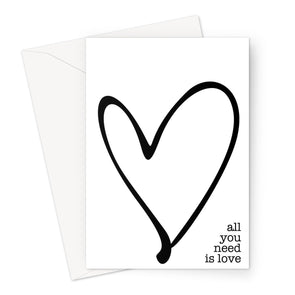 All you need is Love hearts Greeting Card (Free Shipping)