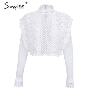 Simplee sexy white lace flower blouse shirt hollow out mesh simplee sexy white lace flower blouse shirt hollow out mesh transparent blouse blusas women long sleeve mightylinksfo