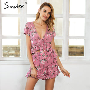 56a4bd83e83f Simplee Ruffle two piece set rompers womens jumpsuit Tie up crop top wrap  bottom summer romper
