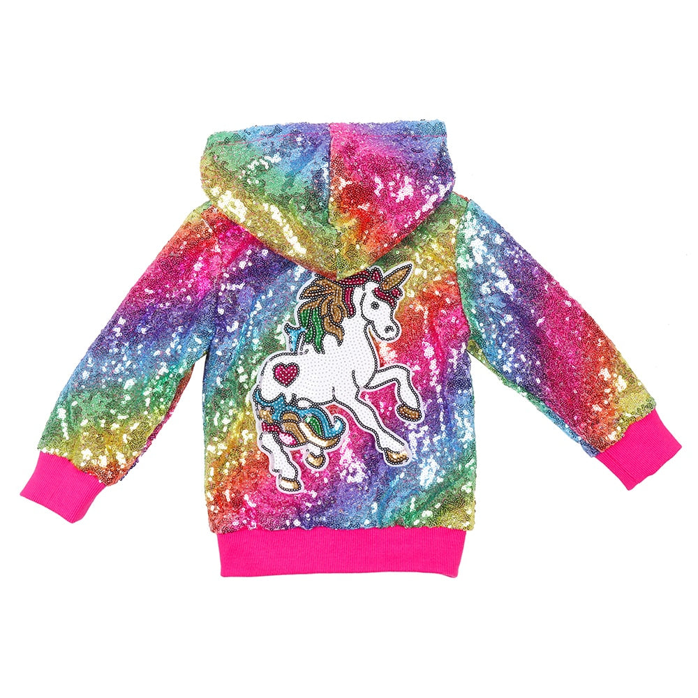 Toddler Kids Baby Pullover Hoodie Fleece Pink Unicorn Outer Jacket