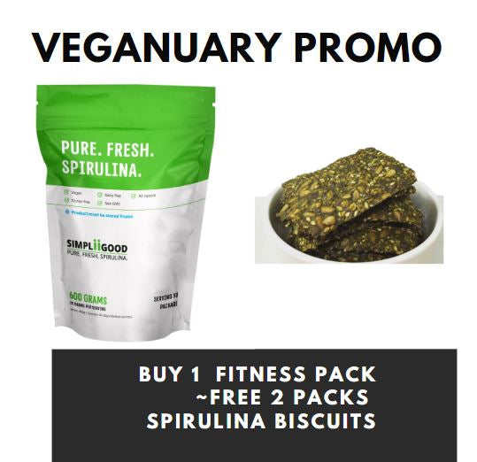 Veganuary Sales - Purchase Simpliigood Fitness 600g, Free 2 packs of Spirulina biscuits