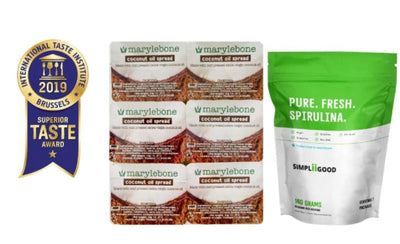 Superfood Bundle of Simpliigood Spirulina 140g & Marylebone Coconut Spread 10g*6