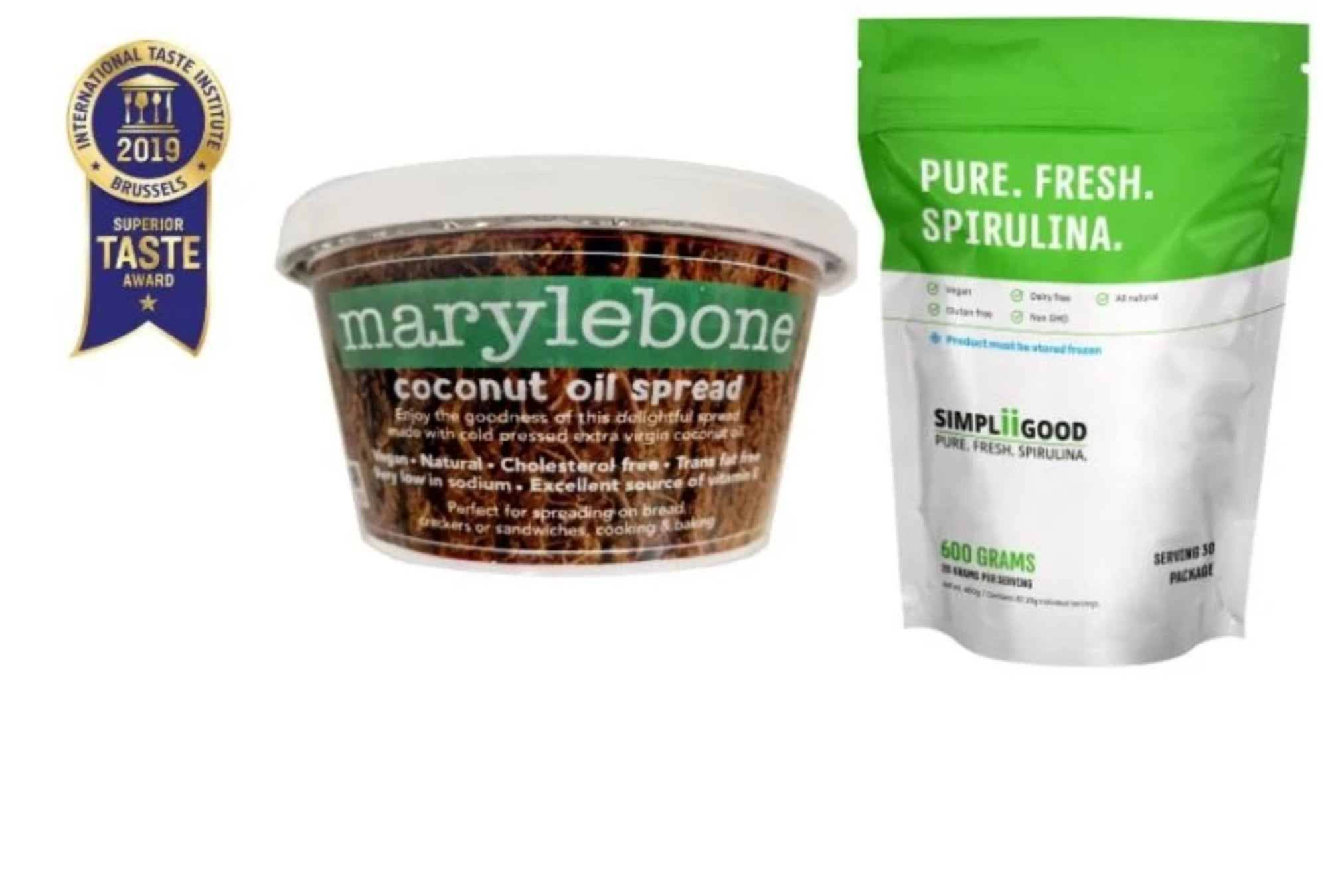 Superfood Bundle of Simpliigood Spirulina 600g & Marylebone Coconut Spread 120g*2
