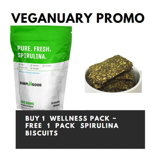 Veganuary Sales - Purchase Simpliigood Wellness 300g, Free 1 pack of Spirulina biscuits