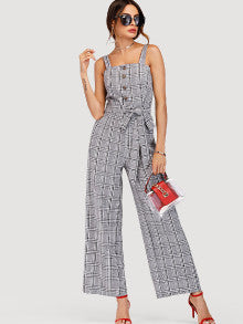 Plaid Jumpsuit