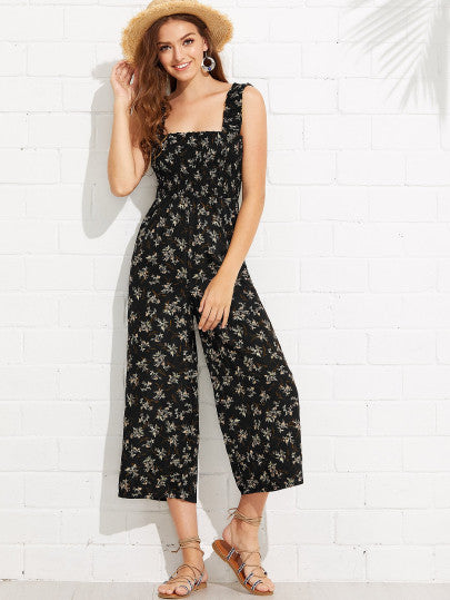 Calico Print Frill Trim Jumpsuit