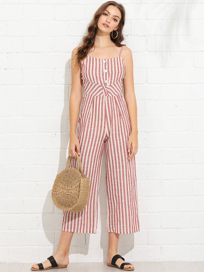 Striped Button Detail Cami Jumpsuit