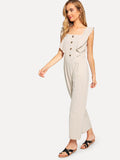 Single Breasted Ruffle Trim Jumpsuit