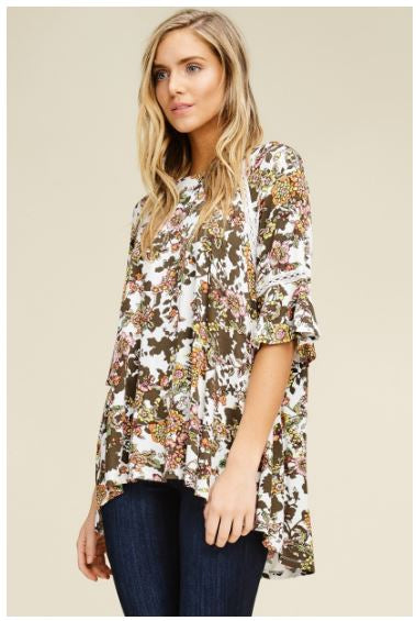 Knit Floral Print Loose Fit Tunic