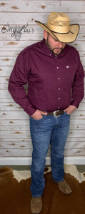 Cinch Men's LS Burgundy Button Up