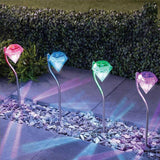 Lampe Solaire 4pcs  Decoration LED Diamonds Lampadaires 'A Pieu Pour Pelouse
