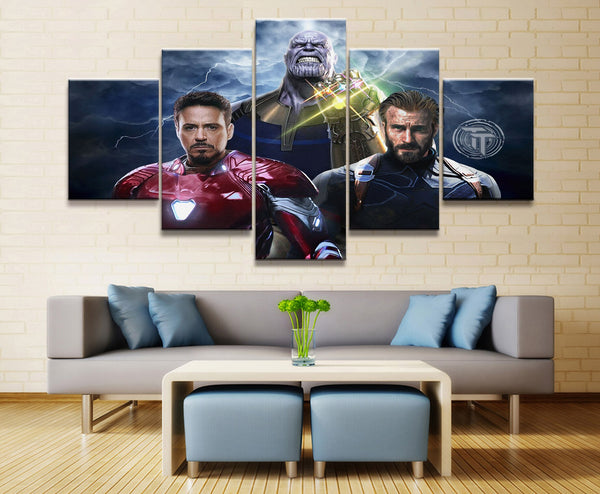 Toile Multi Panneaux HD 5 Pieces Marvel Captain America Iron Man Avengers Endgame