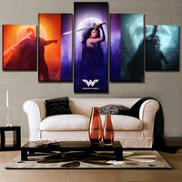 Tableau Impression HD Sur Toile 5 Pièces Justice League Wonder Woman Superman Bat