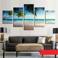 5 Panel Coconut Tree Blue Sky And Ocean Beach Decor Canvas Picture Art HD