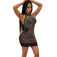 Party Mini Dress De Luxe Femmes Strass Sans Manches Halter Maille Sexy Robes Brillantes Dos Nu Moulante Robe Moulante Tenue Robe Robes