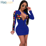 HAOYUAN Coloré Plaid Patchwork Sexy Dress Femmes 2018 Nouvel Automne À Manches Longues Moulante Robe Deep-V Casual Tight Robes De Soirée