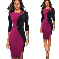 Nice-forever Vintage Contraste Couleur Patchwork Porter au travail robes O Cou Party Bodycon Bureau Femmes D'affaires Robe B478
