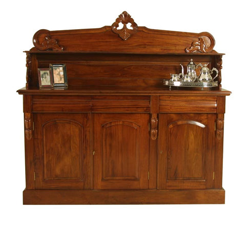 3 Door Corbal Chiffonier Carved Back & Shelf