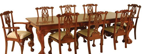Chippendale Heavy Carved (2 Leaf) Dining Table