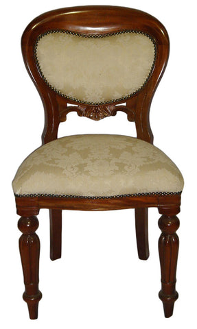 Dutch Plain Upholstered Balloon Back Dining Chair