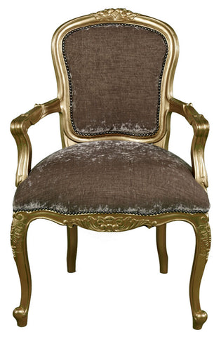 Rose Carved Upholstered Back Carver - Gold
