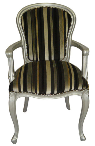 Georgian Plain Upholstered Back Carver - Silver