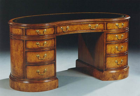 5'3 x 2'9 Walnut Kidney Desk Leather Top