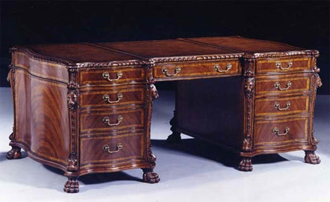 6'0 x 3'4 Chippendale Lion Carved Partners Desk