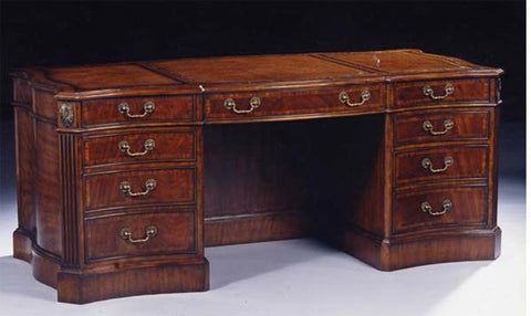 6'0 x 3'0 Serpentine Desk Satinwood Inlay Leather Top