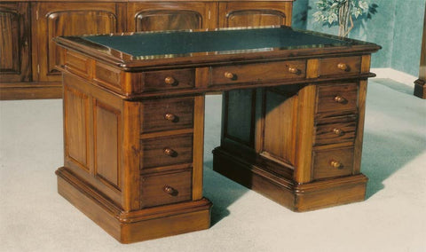 4'0 x 2'0 Victorian Double Pedestal Desk Leather Top