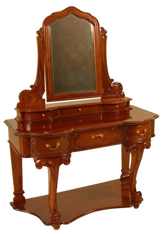 3 Drawer Carved Top Dressing Table