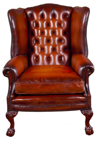 Deep Buttoned Executive Wing Chair Ball & Claw Foot