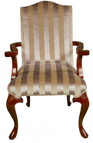 Queen Anne Upholstered High Back Armchair